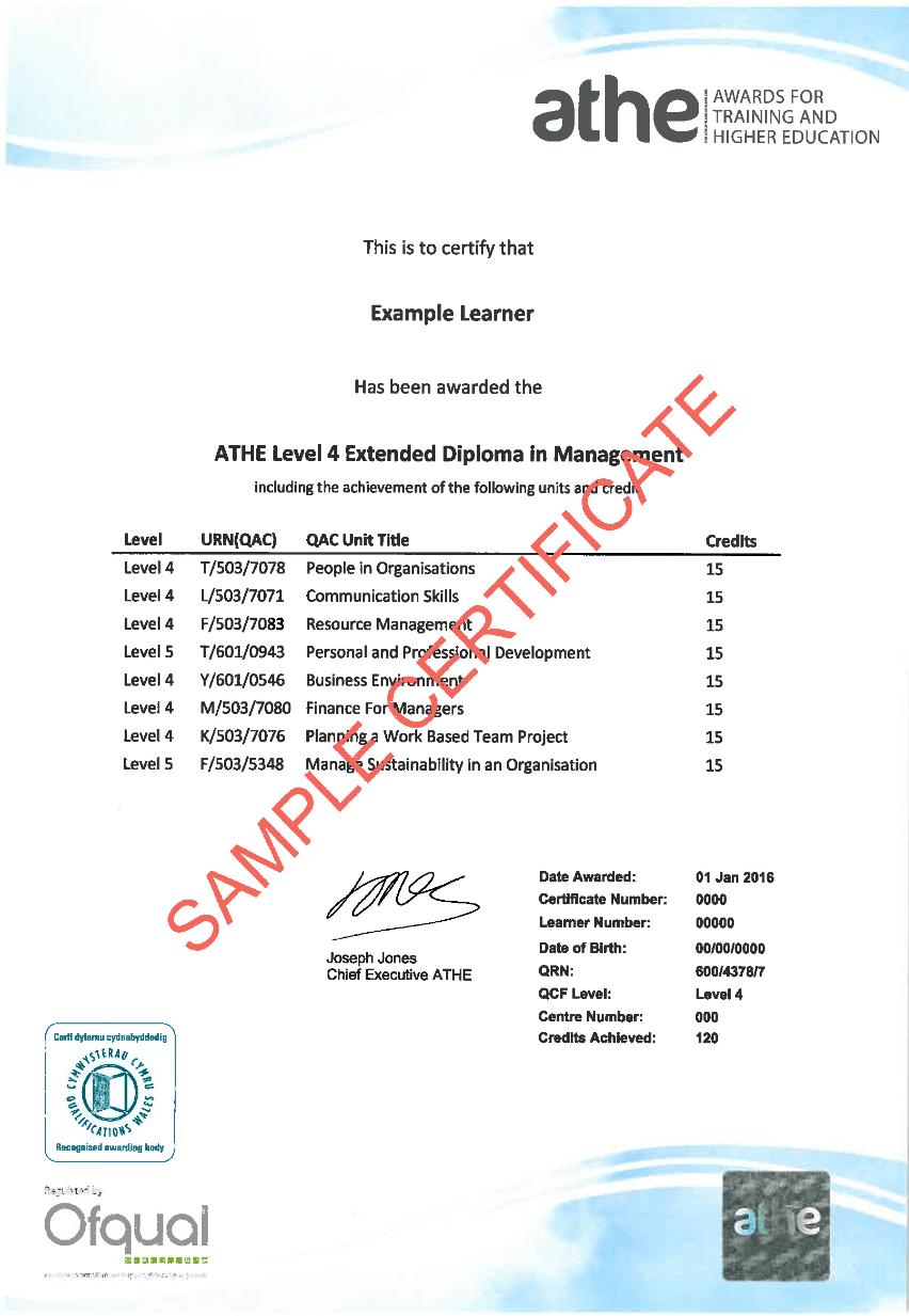 level 4 diploma management Sample Certificate